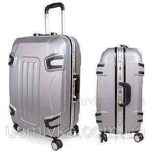 Стильный пластиковый чемодан на колесах, ручная кладь, серый комплект