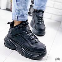 Женские зимние кроссовки хайтопы ботинки спортивные черные на массивной фигурной подошве, фото 1