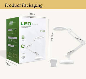 Лампа лупа настольная LED МТ 305 с подсветкой, фото 2