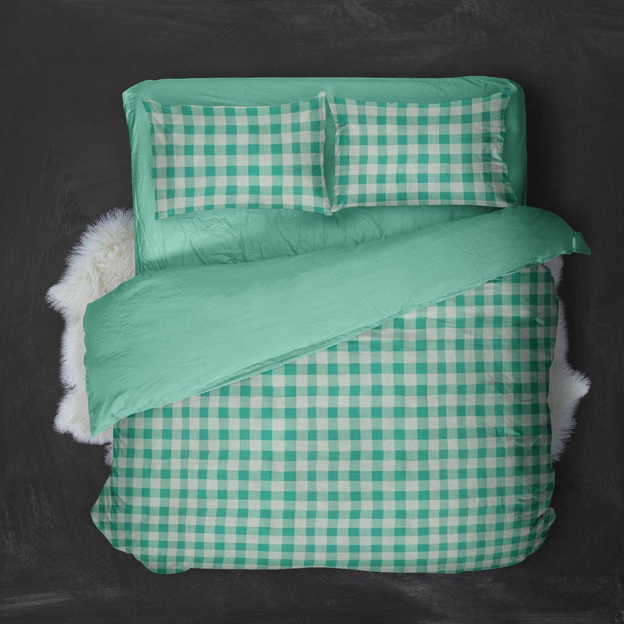 Двуспальный комплект постельного белья с евро простыней из поплина Клеточка Бирюза
