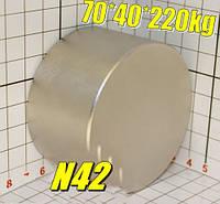 Супермагніт польський неодимовий 70*40*220кг, N42