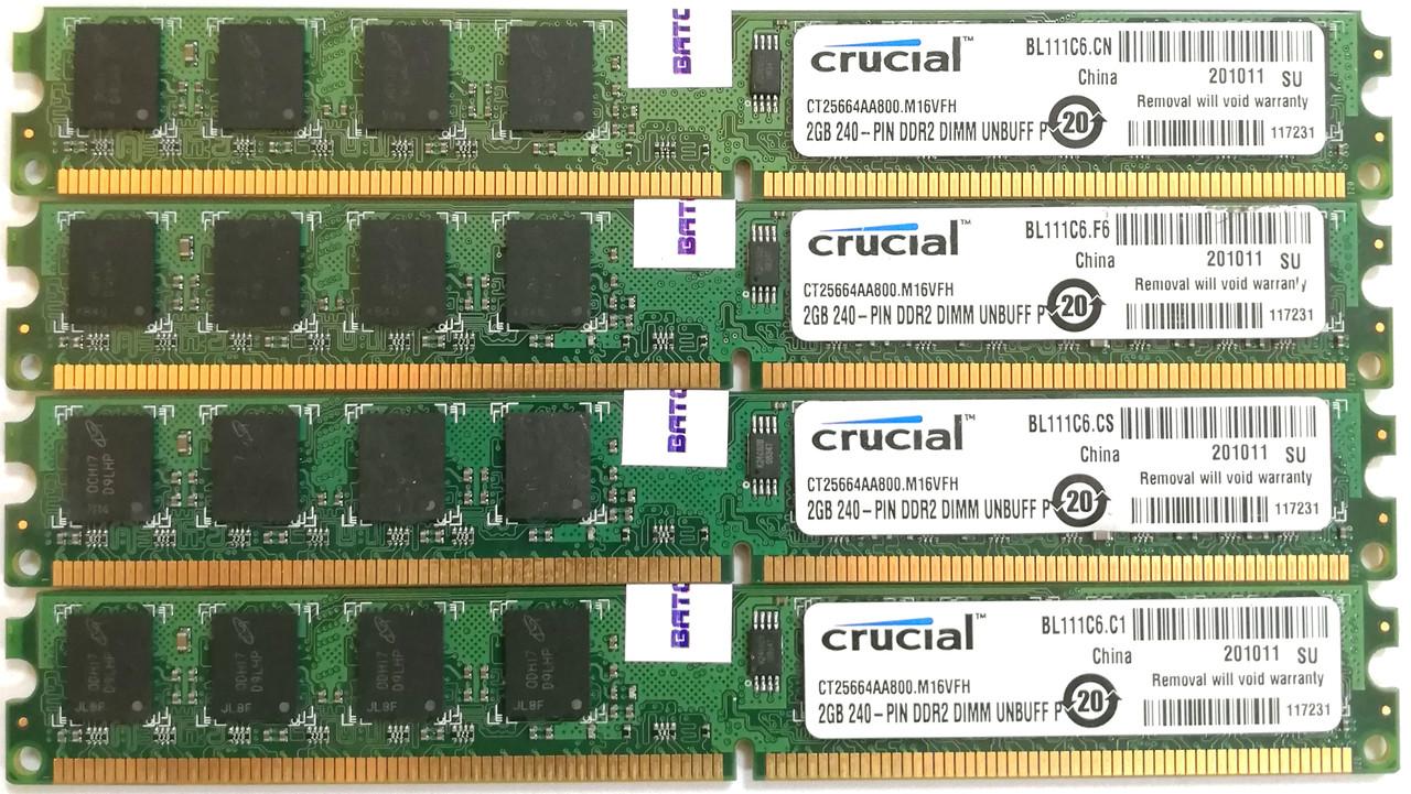 Комплект оперативной памяти Crucial DDR2 8Gb (4*2Gb) 800MHz PC2 6400U 2R8 CL6 (CT25664AA800.M16VFH) Б/У