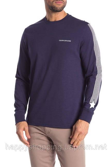Мужской оригинальный темно-синий хлопковый лонгслив Calvin Klein Jeans (Размер - М)