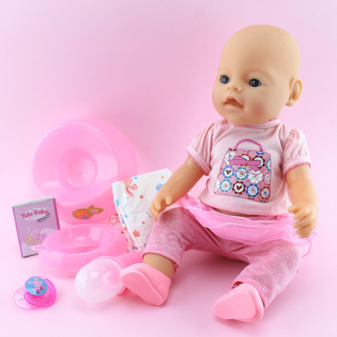 Кукла Пупс функциональный 42см, бутылочка, горшок, соска магн, подгузник, тарелка, каша 4шт, пьет-писяет, в кор,33-38-18см