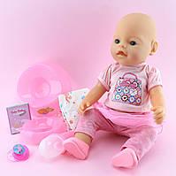 Кукла Пупс функциональный 42см, бутылочка, горшок, соска магн, подгузник, тарелка, каша 4шт, пьет-писяет, в кор,33-38-18см, фото 1
