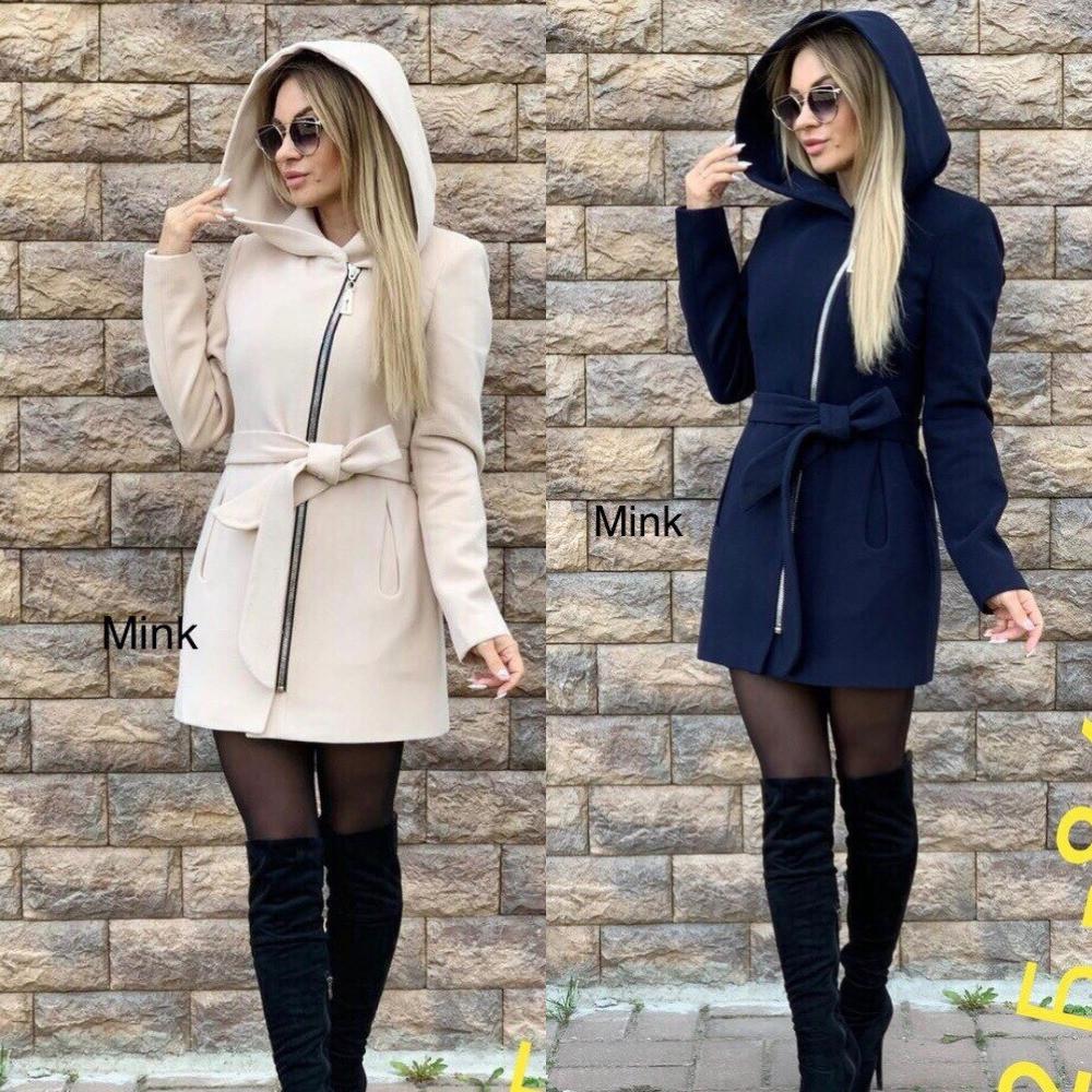 Пальто женское, кашемировое на подкладке, с капюшоном и рабочими карманами, на молнии, модное, стильное
