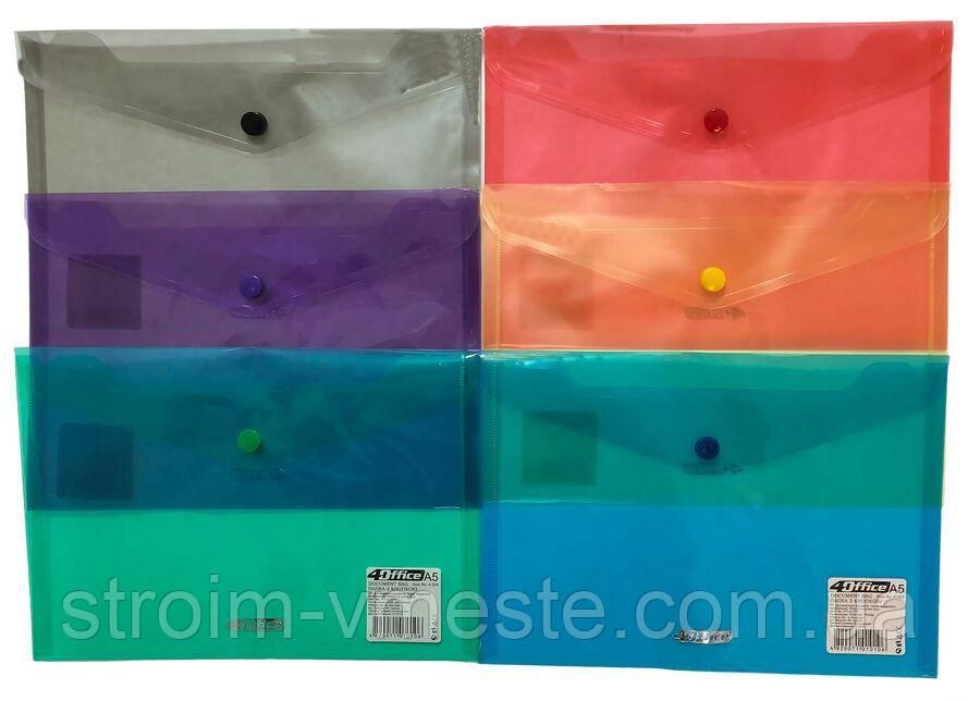 Папка конверт на кнопке прозрачная 4OFFICE 4-205 B5 PP цвета в ассортименте
