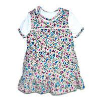 Комплект ясельный сарафан и футболка в цветочек 80 размер - 180415