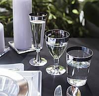 Бокал винный пластиковый многоразовый не гнутся для пикника. Полная сервировка стола. CFP 6 шт 130 мл, фото 1