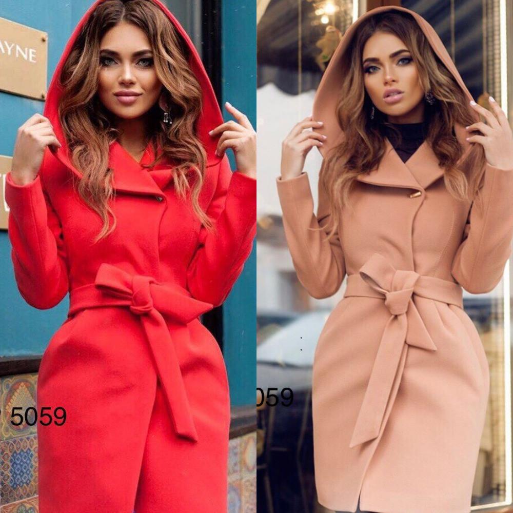 Пальто женское кашемировое на подкладке с капюшоном и карманами, стильное, модное,, фото 1