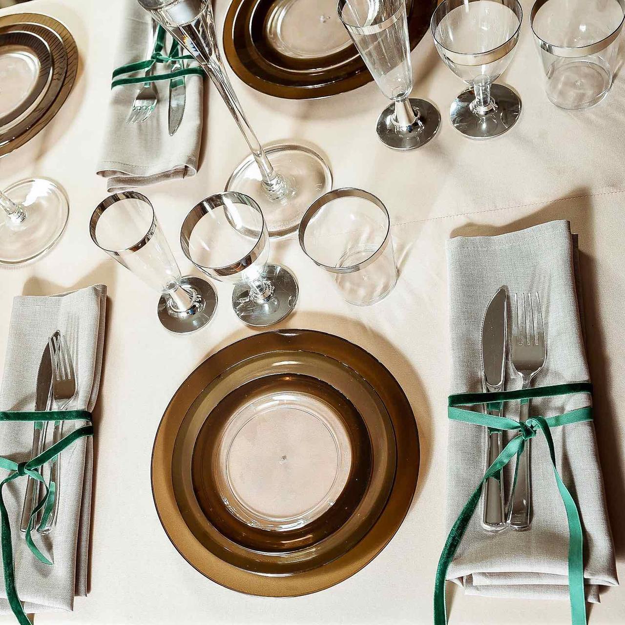 Ножи стекловидные негнущиеся , серебро для корпоротивов, event. Полная сервировка стола. CFP 12 шт 200 мм