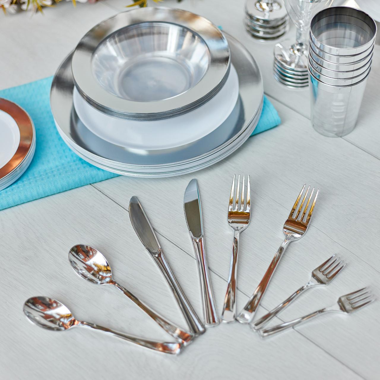Нож одноразовый столовый стеклопластиковый серебро 12 шт 200 мм. Capital For People.