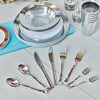 Нож одноразовый столовый стеклопластиковый серебро 12 шт 200 мм. Capital For People., фото 1