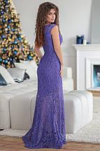"""Вечернее платье гипюр в пол """"КАПРИЗ"""" с коротким рукавом, фото 2"""