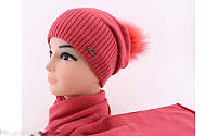 """Комплект шапка и шарф вязаные """"Ника"""" коралловый 906992-11"""