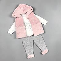 Костюм трійка для дівчаток з жилеткою Туреччина Белый с розовым, фото 1