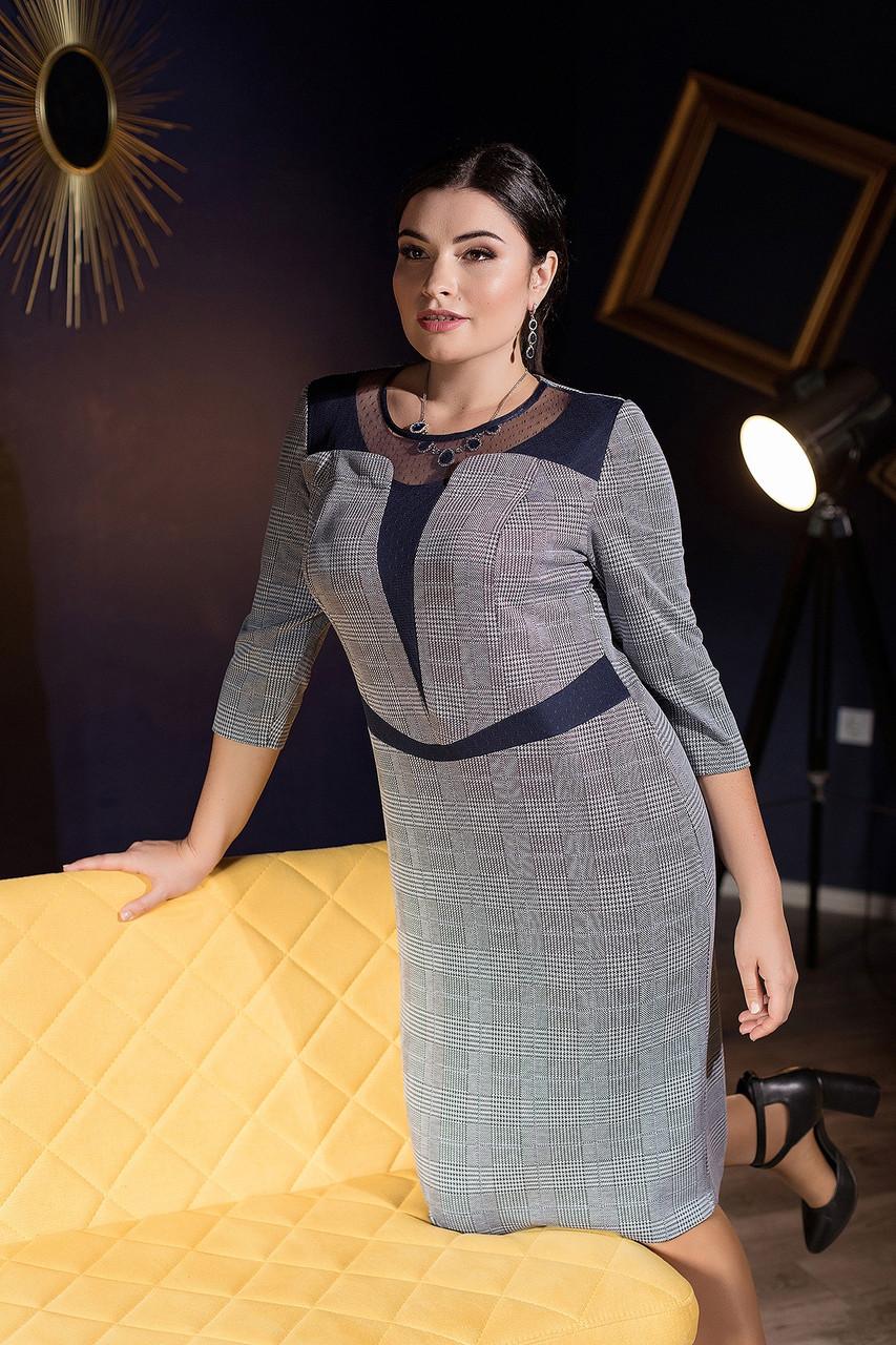 Эффектное женское  платье в модную клеточку батал   50-56 размер