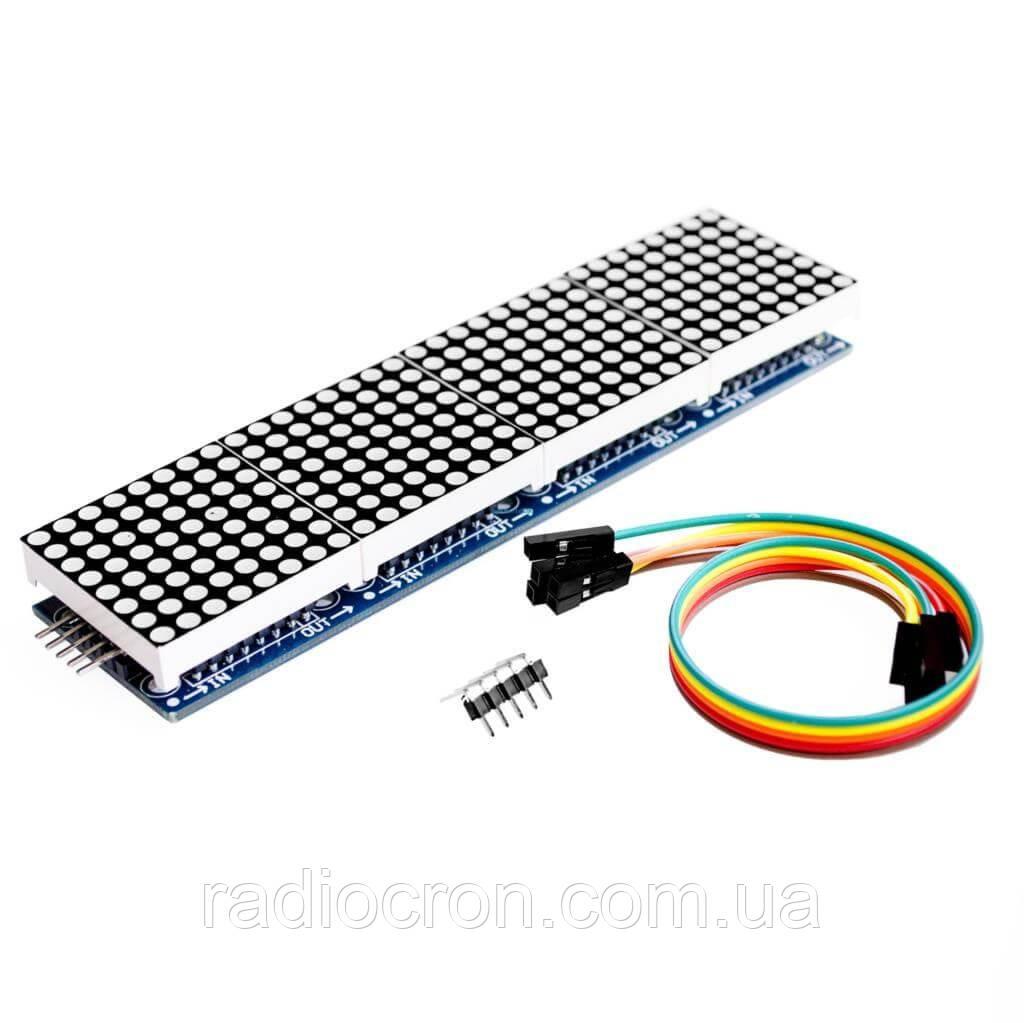 Модуль MAX7219, Світлодіодна Матриця, 4 сегмента 8х8, зелені пікселі