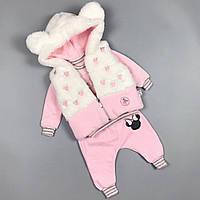 Костюм трійка для дівчаток, жилетка з вушками Туреччина Розовый, фото 1
