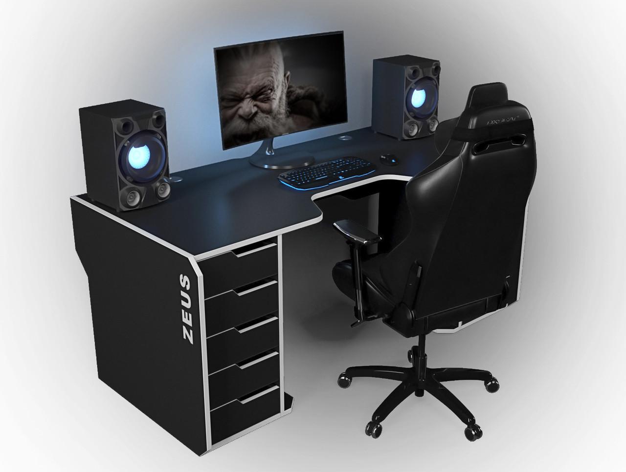 "Стол компьютерный 160х85х76 см. ""Viking-1S"" Геймерский, черный/белый"