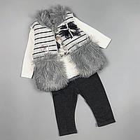 Cтильний костюм трійка для дівчаток з жилеткою Туреччина Серый без капюшона, фото 1