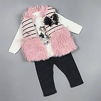 Cтильний костюм трійка для дівчаток з жилеткою Туреччина Розовый без капюшона, фото 1