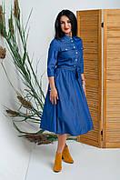 Джинсовое женское платье-рубашка миди размер 42-50
