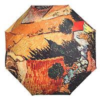 Зонтик складной автомат по картине Ван Гога Пейзаж с домом и пахарем, купол 100 см., в сложенном виде 27 см.