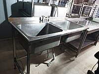 Мойка двойная 1,4 м. бу. Нержавеющая мойка для кухни бу. Кухонная мебель бу