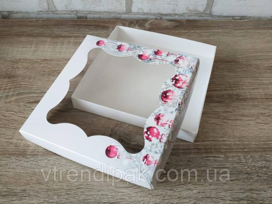 """Коробка для пряника 200*200*30 Новорічна """"Рожеві іграшки"""" мелований картон з вікном (плівка ПВХ)"""
