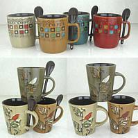 Керамические чашки с ложечкой, 350 мл., 10 см.