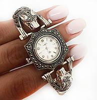 Часы из капельного серебра 925 Beauty Bar тигры с розовыми глазами и и камнями марказитами