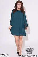 Платье шифоновое изумрудное свободного кроя (размеры от 50 до 58)