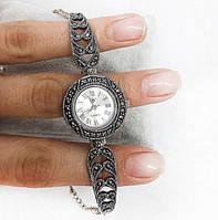 Часы из капельного серебра 925 Beauty Bar классические, камни марказиты