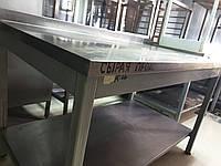 Комбинированный нержавеющий стол 1,3 м. бу. Стол для кухни бу. Нержавейка бу
