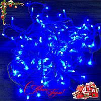 """Новогодняя гирлянда """"Нить"""" уличная 80 LED, 8.5 м (белый провод, синий), фото 1"""