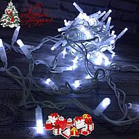 """Новогодняя гирлянда """"Нить"""" уличная 80 LED, 8.5 м (белый провод, холодный белый), фото 1"""