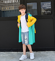 Дождевик детский с местом под рюкзак Желто-зеленый
