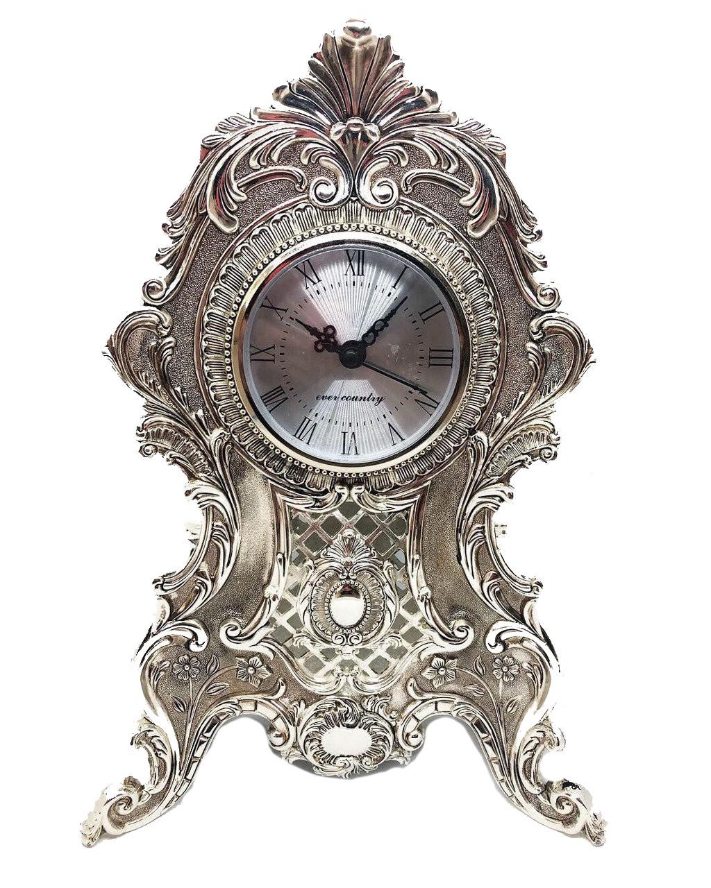 Настольные каминные часы MCA Vizyon из мельхиора с посеребрением