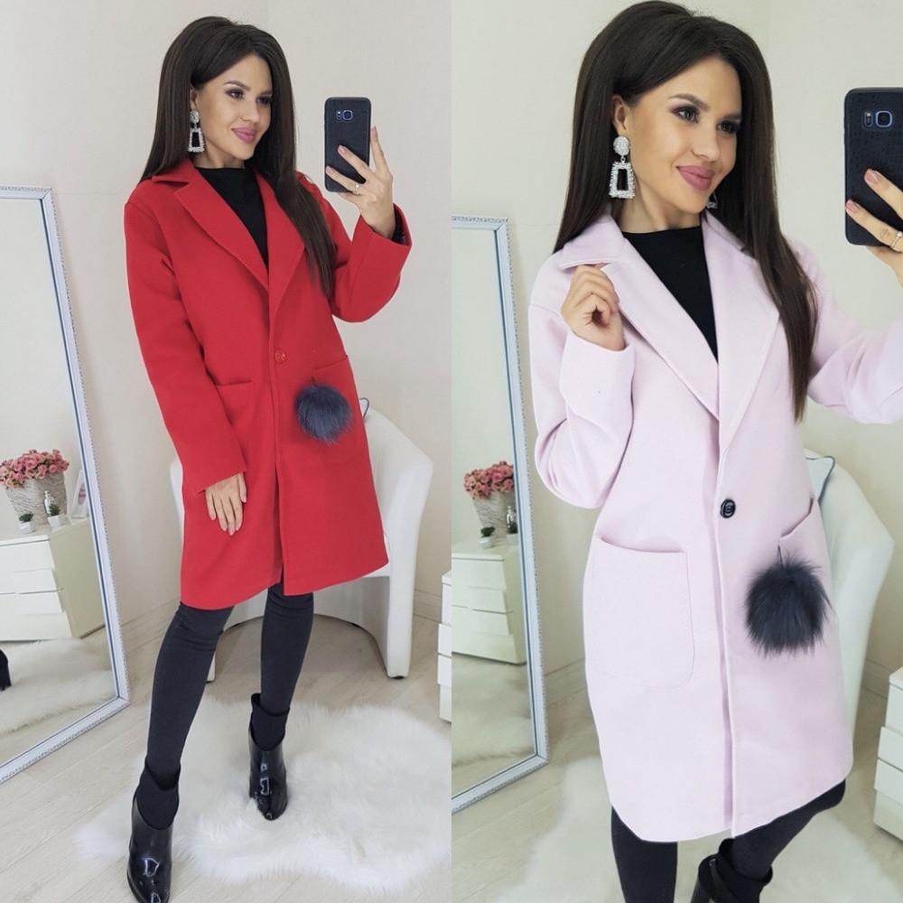 Пальто женское короткое, кашемировое на подкладке, отложной воротник и карманы, на пуговице, фото 1