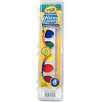 Акварельные краски Crayola 8 цветов + кисточка. Пусть дети рисуют - все отмоется!
