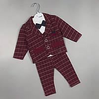Стильний костюм трійка в клітинку для хлопчиків Туреччина оптом, фото 1
