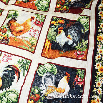 53012 Фермерская (купон). Ткань с изображением птиц. Ткани для декора и рукоделия.