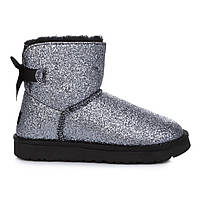 UGG Australia Mini Bailey Bow Sparkle Silver Black