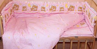 Пододеяльник 145х105 см Мишки в круге розовый