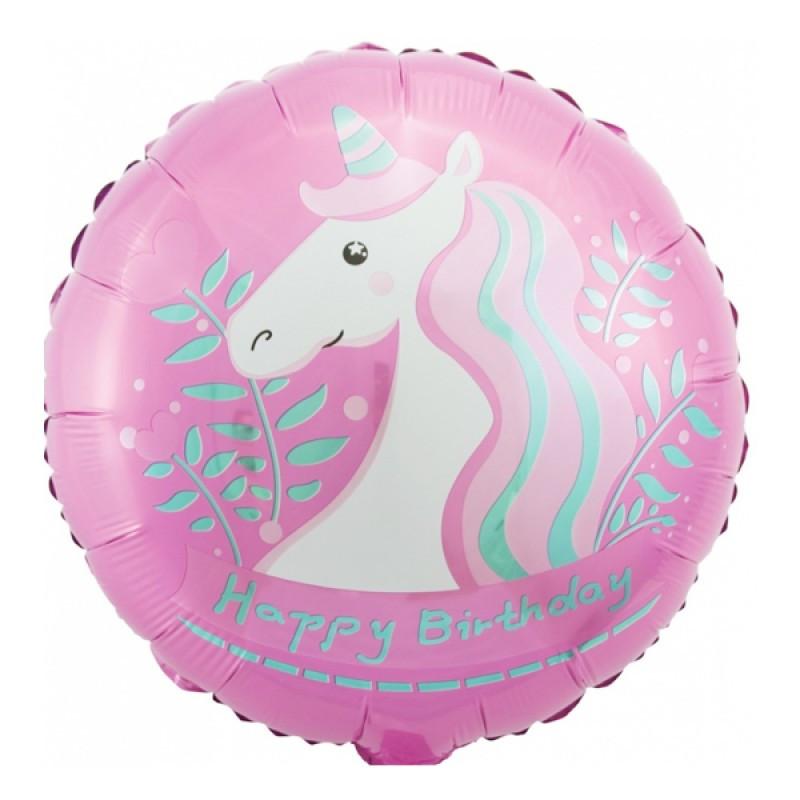 """Фольгированный шарик """" Круг с единорогом Happy Birthday"""" Розовый 18""""(45см)"""