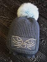 Деми шапка вязаная для ребенка 1-5 лет, Глаза кошки, стразы Сваровски, с меховым помпонов кролик р 48-50