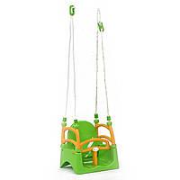 Качели детские пластиковые подвесные 3в1 от 1 года до 12 лет зеленые детские Doloni Toys