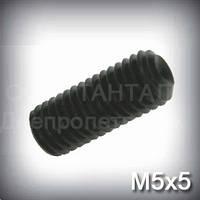 Винт М5х5 DIN 916 (ГОСТ 28964-91, ISO 4029) - гужон установочный с засверленным концом