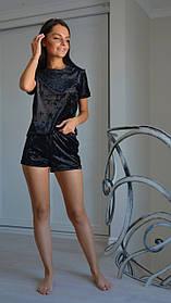 Черный велюровый комплект: майка+шорты